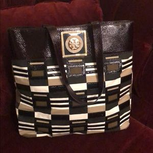 Tory Burch Patchwork Leather/Canvas Tote